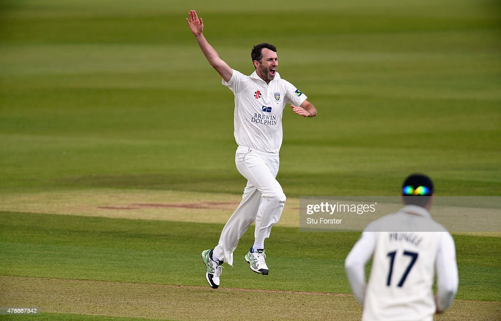 Durham bowler Graham Onions celebrates after dismissing Alex Lees during day one of the LV County Championship Division One match between Durham and...