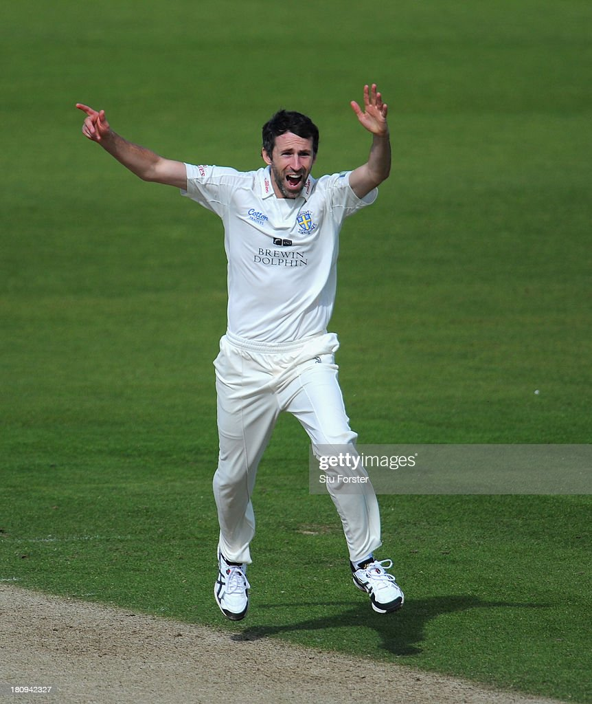 Durham bowler Graham Onions celebrates after taking the wicket of Notts batsman Michael Lumb during day two of the LV County Championship Division...