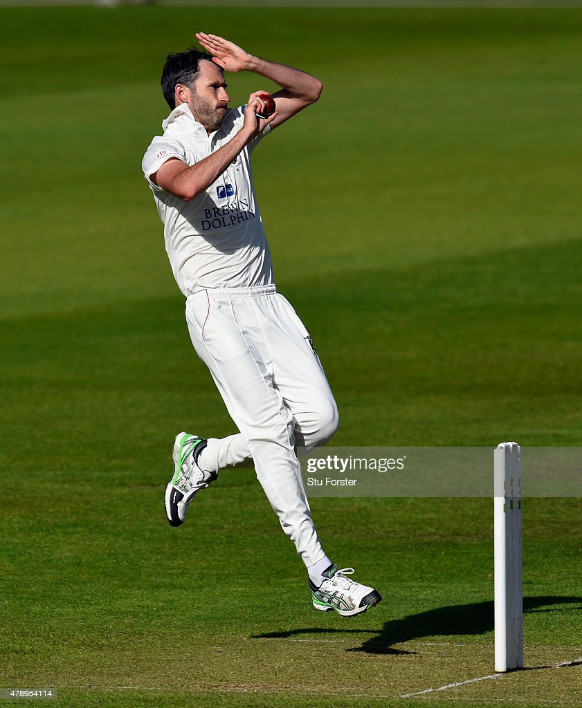 Durham bowler Graham Onions in action during day one of the LV County Championship Division One match between Durham and Yorkshire at Emirates Durham...