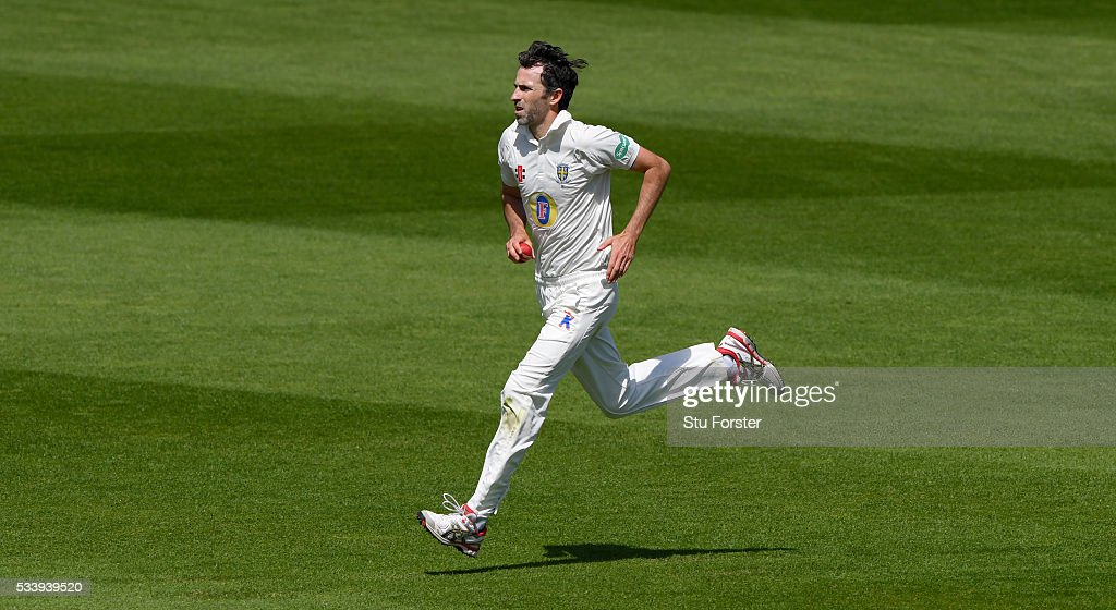 Durham bowler Graham Onions in action during day three of the Specsavers County Championship Division One match between Warwickshire and Durham at Edgbaston on May 24, 2016 in Birmingham, United Kingdom.