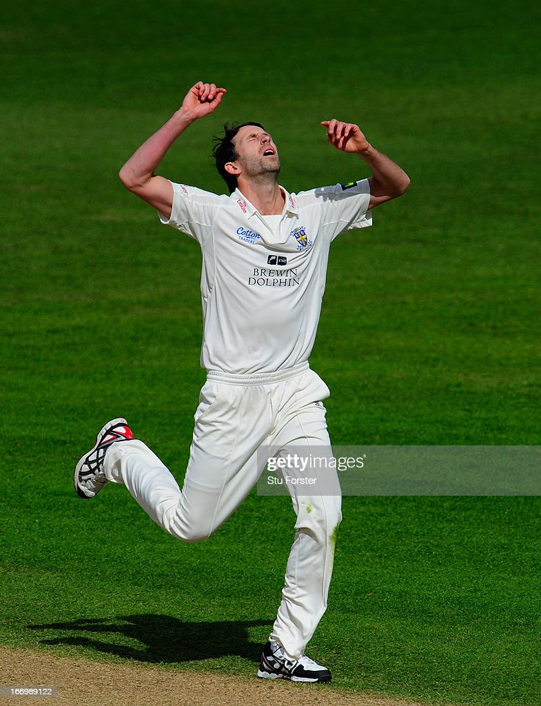 Durham bowler <a gi-track='captionPersonalityLinkClicked' href=/galleries/search?phrase=Graham+Onions&family=editorial&specificpeople=691130 ng-click='$event.stopPropagation()'>Graham Onions</a> reacts after a near miss during day three of the LV County Championship Division One game between Warwickshire and Durham at Edgbaston on April 19, 2013 in Birmingham, England.
