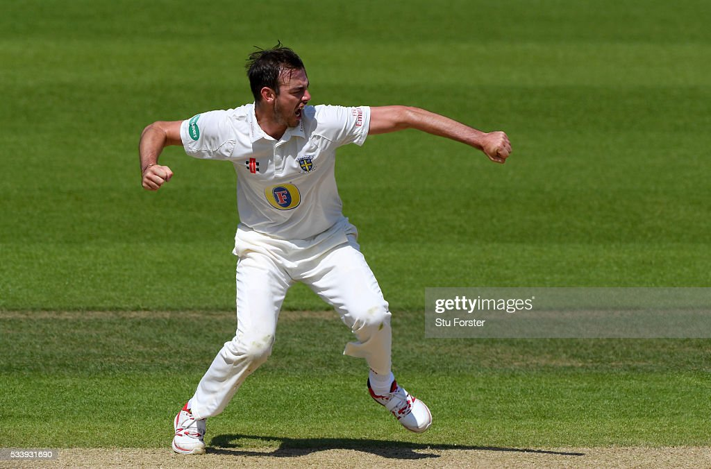 Durham bowler James Weighell celebrates after dismissing Warwickshire batsman Ian Bell during day three of the Specsavers County Championship Division One match between Warwickshire and Durham at Edgbaston on May 24, 2016 in Birmingham, United Kingdom.