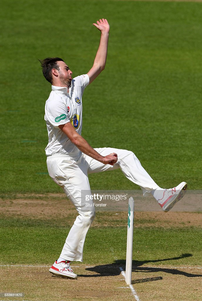 Durham bowler James Weighell in action during day three of the Specsavers County Championship Division One match between Warwickshire and Durham at Edgbaston on May 24, 2016 in Birmingham, United Kingdom.