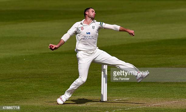 Durham bowler John Hastings in action during day one of the LV County Championship Division One match between Durham and Yorkshire at Emirates Durham...