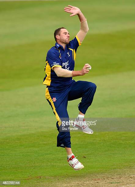 Durham bowler John Hastings in action during the Royal London OneDay Cup match between Somerset and Durham at the County ground on July 28 2015 in...