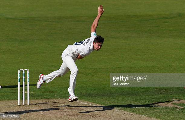 Durham bowler Paul Coughlin in action during day two of the Specsavers County Championship Division One match between Durham and Warwickshire at the...