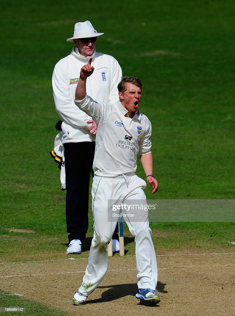 Durham bowler Scott Borthwick reacts after a near miss during day three of the LV County Championship Division One game between Warwickshire and Durham at Edgbaston on April 19, 2013 in Birmingham, England.