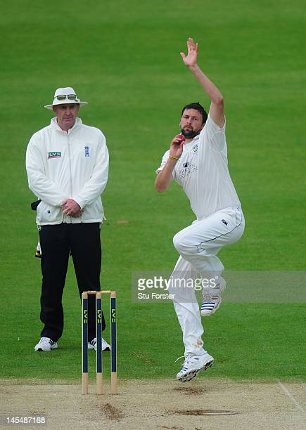 Durham bowler Steve Harmison in action during day two of the LV County Championship division one match between Durham and Lancashire at The Riverside...