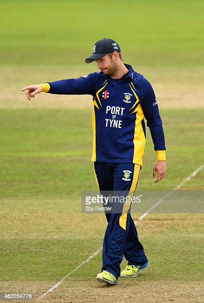 Durham captain Mark Stoneman sets his field during the Royal London OneDay Cup match between Somerset and Durham at the County ground on July 28 2015...