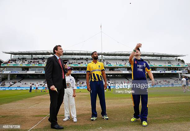Durham captain Mark Stoneman tosses the coin as Warwickshire captain Varun Chopra looks on prior to the Royal London OneDay Cup Final between...