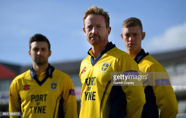 Durham captain Paul Collingwood with Mark Wood and Keaton Jennings pose for a portrait at The Riverside on April 5 2017 in ChesterleStreet England