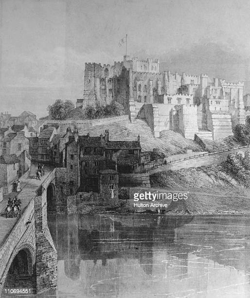 Durham Castle and Framwellgate Bridge Durham County Durham circa 1820 Engraving by J H Le Keux after R W Billings early 19th century print