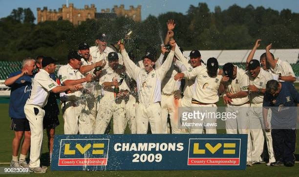Durham celebrate winning the LV County Championship Division One during the final day of the LV County Championship Division One match between Durham...
