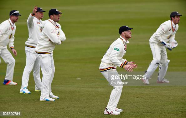 Durham fielder Ben Stokes and team mates react during day one of the Specsavers County Championship Division One match between Durham and Middlesex...
