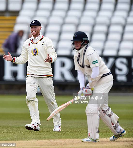 Durham fielder Ben Stokes reacts as Sam Robson is bowled by Brydon Carse during day one of the Specsavers County Championship Division One match...