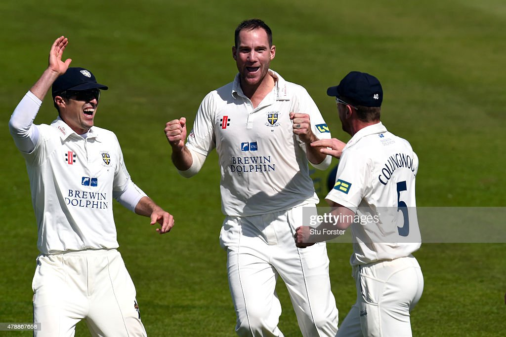Durham fielder Paul Collingwood celebrates after Yorkshire batsman Andrew Gale was caught off the bowling of John Hastings as Gordon Muchall joins in...
