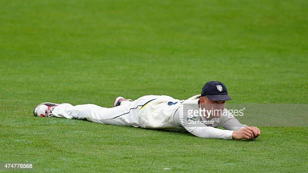 Durham fielder Scott Borthwick looks on during day three of the LV County Championship division one match between Worcestershire and Durham at New...