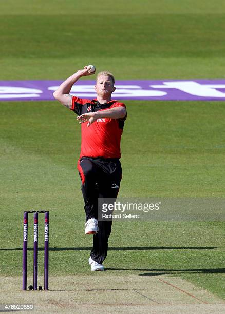Durham Jets Ben Stokes bowling during the NatWest T20 Blast between Durham Jets and Birmingham Bears at Emirates Durham ICG on June 06 2015 in...