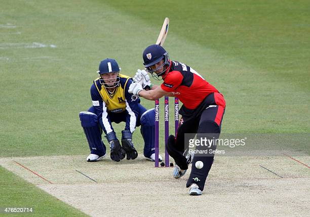Durham Jets Calum MacLeod in action during the NatWest T20 Blast between Durham Jets and Birmingham Bears at Emirates Durham ICG on June 06 2015 in...