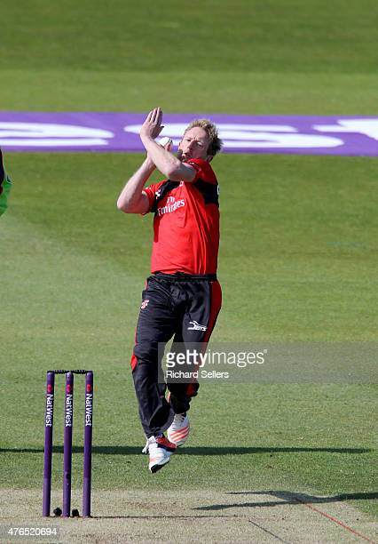 Durham Jets Paul Collingwood bowling during the NatWest T20 Blast between Durham Jets and Birmingham Bears at Emirates Durham ICG on June 06 2015 in...