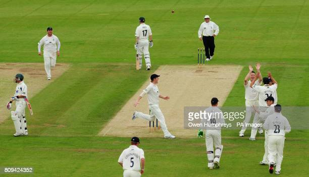 Durham's Callum Thorp celebrates the wicket of Nottinghamshire's Steven Mullaney during the LV County Championship match at the Emirates Durham ICG...