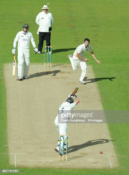 Durham's Graham Onions bowls at Nottinghamshire's Steven Mullaney during the LV= County Championship Division One match at the Emirates Durham ICG...