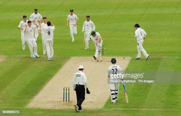 Durham's Graham Onions celebrates the wicket of Nottinghamshire's Riki Wessels during the LV County Championship match at the Emirates Durham ICG...