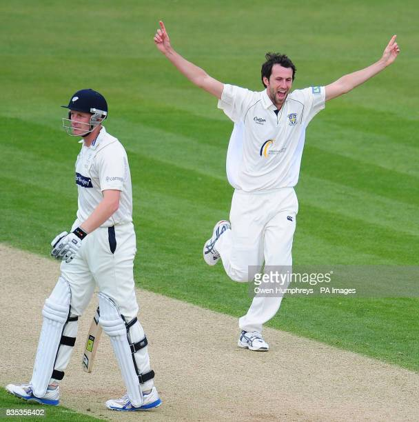 Durham's Graham Onions celebrates the wicket of Yorkshire's Andrew Gale during the Liverpool Victoria County Championship match at Chester le Street...