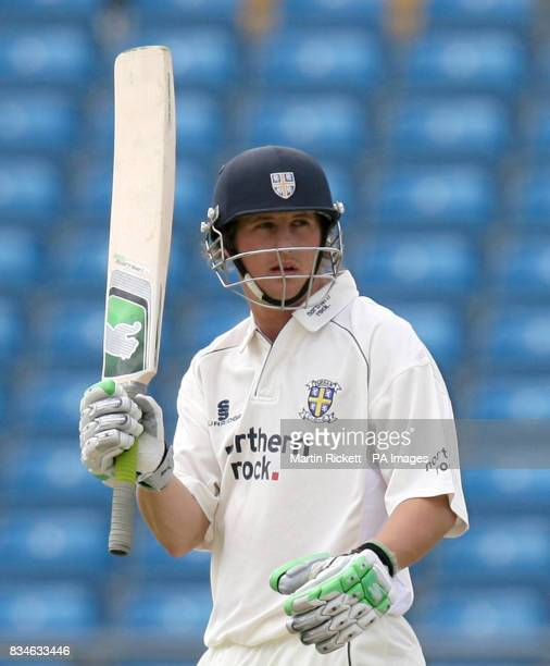 Durham's Phil Mustard celebrates his 50 during the LV County Championship Division One match at Headingley Carnegie Leeds