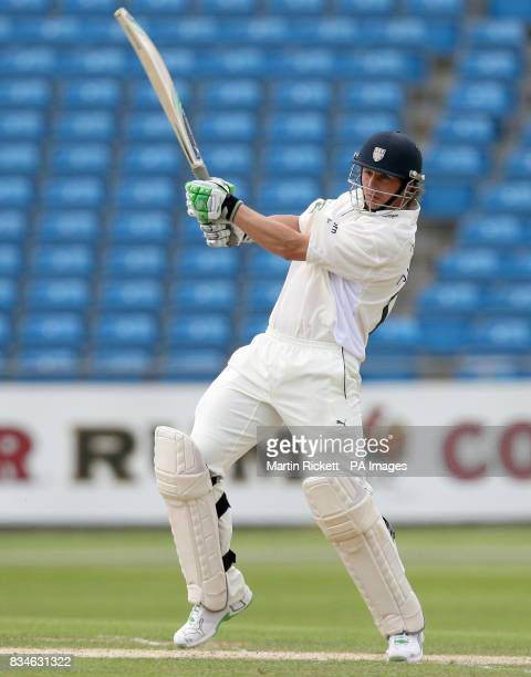 Durham's Phil Mustard hits for 4 during the LV County Championship Division One match at Headingley Carnegie Leeds