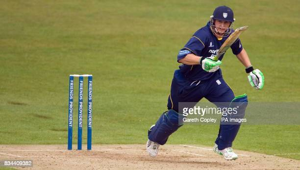 Durham's Phil Mustard runs between the wickets during the Friends Provident Trophy match at Headingley Carnegie Leeds