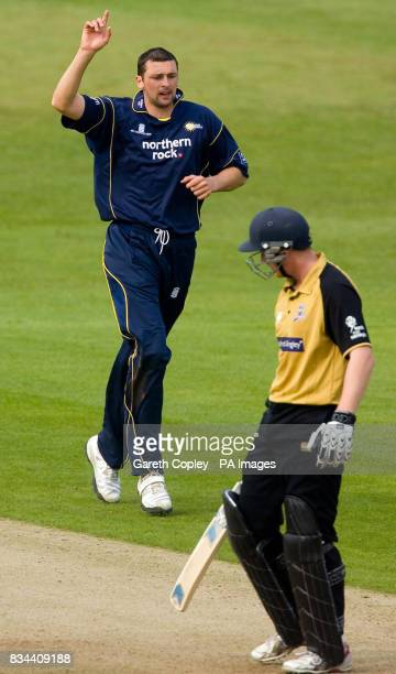 Durham's Steve Harmison celebrates after taking the wicket of Yorkshire's Andrew Gale for 68 runs during the Friends Provident Trophy match at...