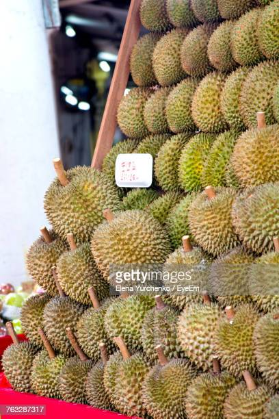 Durians Arranged For Sale At Market Stall