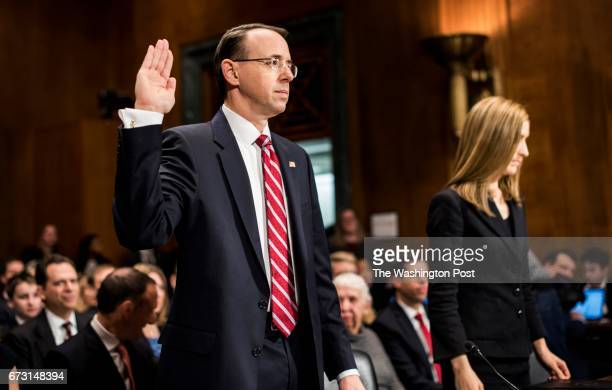 WASHINGTON DC During a confirmation hearing Rod Rosenstein nominated for Deputy Attorney General and Rachel Brand nominated for Associate Attorney...