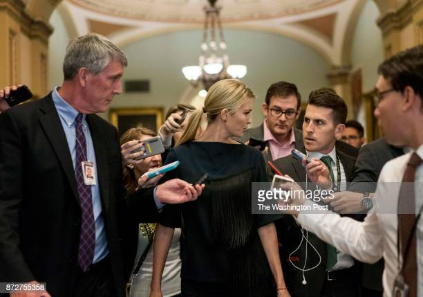 WASHINGTON DC During a day of talking about the Republican tax bill taking a wrong turn Ivanka Trump surprisingly walks past the Senate floor and...