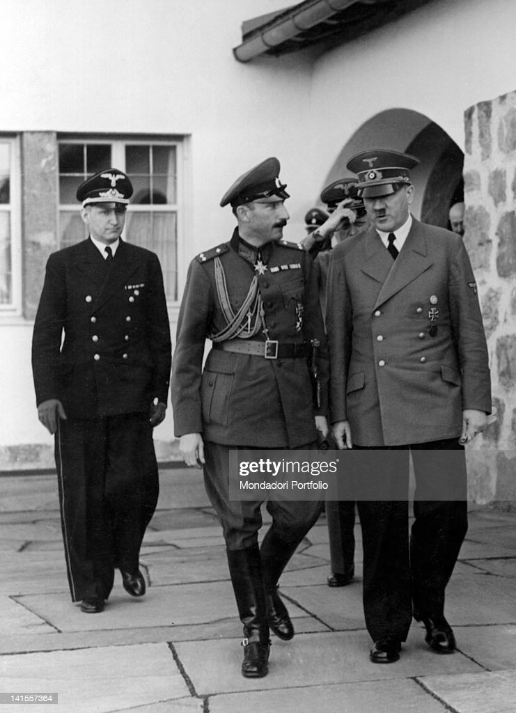 During a diplomatic meeting, the Chancellor of the Third Reich <a gi-track='captionPersonalityLinkClicked' href=/galleries/search?phrase=Adolf+Hitler&family=editorial&specificpeople=90219 ng-click='$event.stopPropagation()'>Adolf Hitler</a> walking beside <a gi-track='captionPersonalityLinkClicked' href=/galleries/search?phrase=Boris+III&family=editorial&specificpeople=218086 ng-click='$event.stopPropagation()'>Boris III</a>, Tsar of Bulgaria, followed by the Foreign Minister of the Third Reich Joachim von Ribbentrop. Berchtesgaden, 7th June 1941