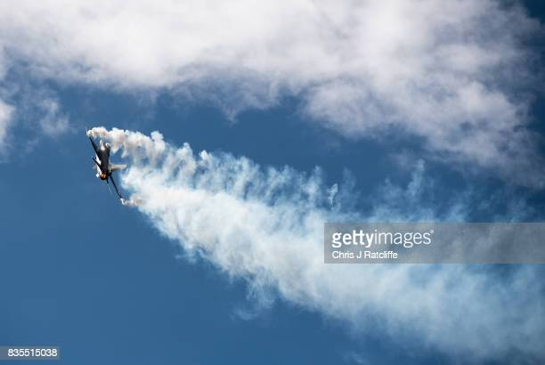 F16 during a flying display at the Biggin Hill Festival of Flight on August 19 2017 in Biggin Hill England The Biggin Hill Festival of Flight is an...