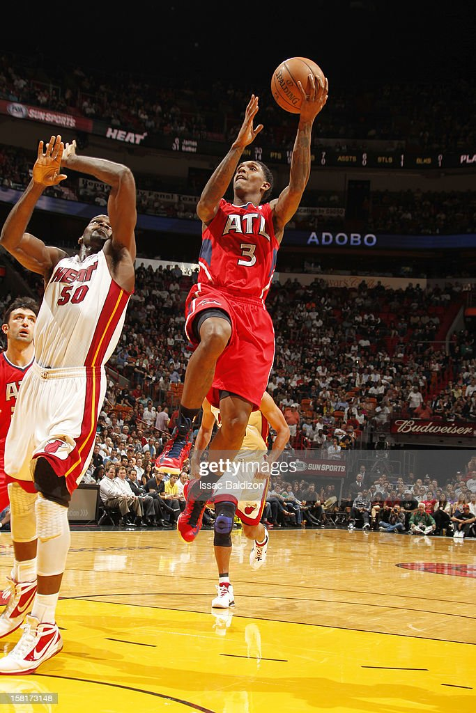 during a game between the Atlanta Hawks and the Miami Heat on December 10, 2012 at American Airlines Arena in Miami, Florida.