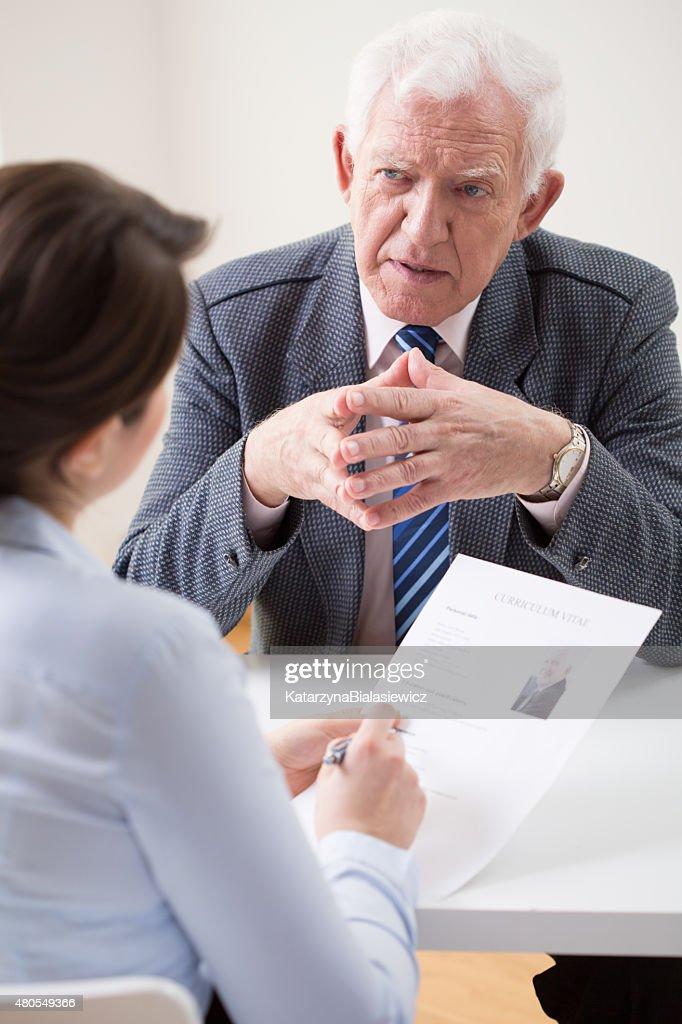 Durante uma entrevista de trabalho : Foto de stock