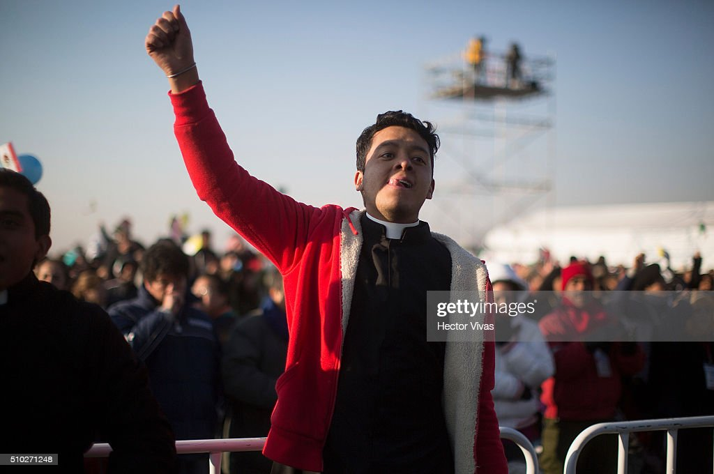 during a mass for the people at Ecatepec on February 14, 2016 in Ecatepec, Mexico. Pope Francis is on a five days visit in Mexico from February 12 to 17 where he is expected to visit five states.