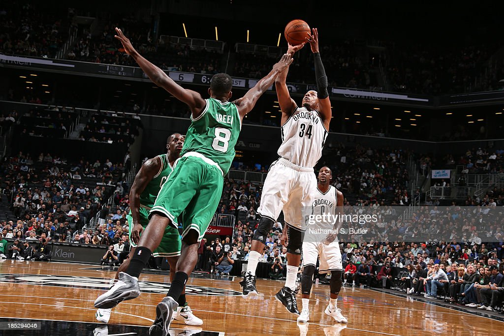 during a preseason game at the Barclays Center on October 15, 2013 in the Brooklyn borough of New York City.