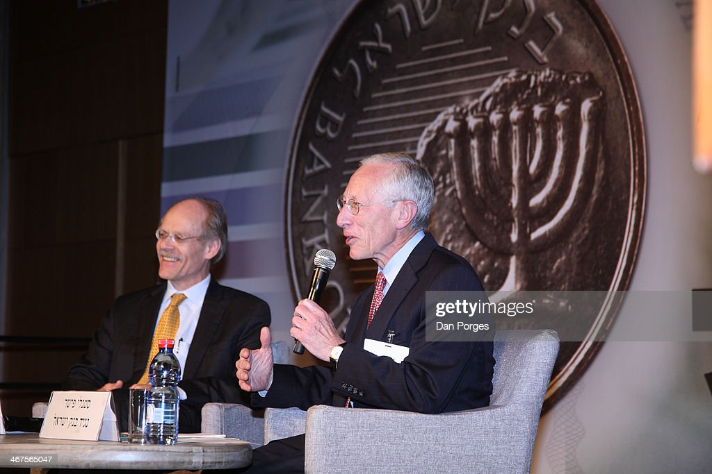 During a presentation, Governor of the Bank of Israel Professor <a gi-track='captionPersonalityLinkClicked' href=/galleries/search?phrase=Stanley+Fischer&family=editorial&specificpeople=233518 ng-click='$event.stopPropagation()'>Stanley Fischer</a> (right) speaks to an audience of Bank of Israel employees at the International Congress Center, as Head of the Riksbank Stefan Ingves smiles beside him, Jerusalem, Israel, April 21, 2010.