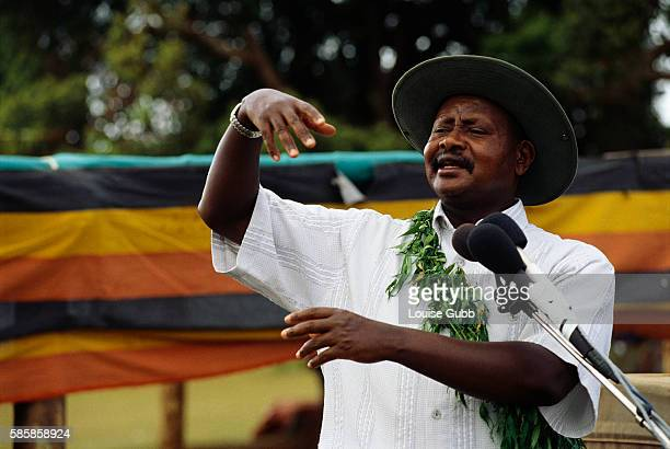 During a Sabiny Culture Day event in Kapchorwa Uganda President Yoweri Museveni speaks against female circumcision While a traditional rite of...