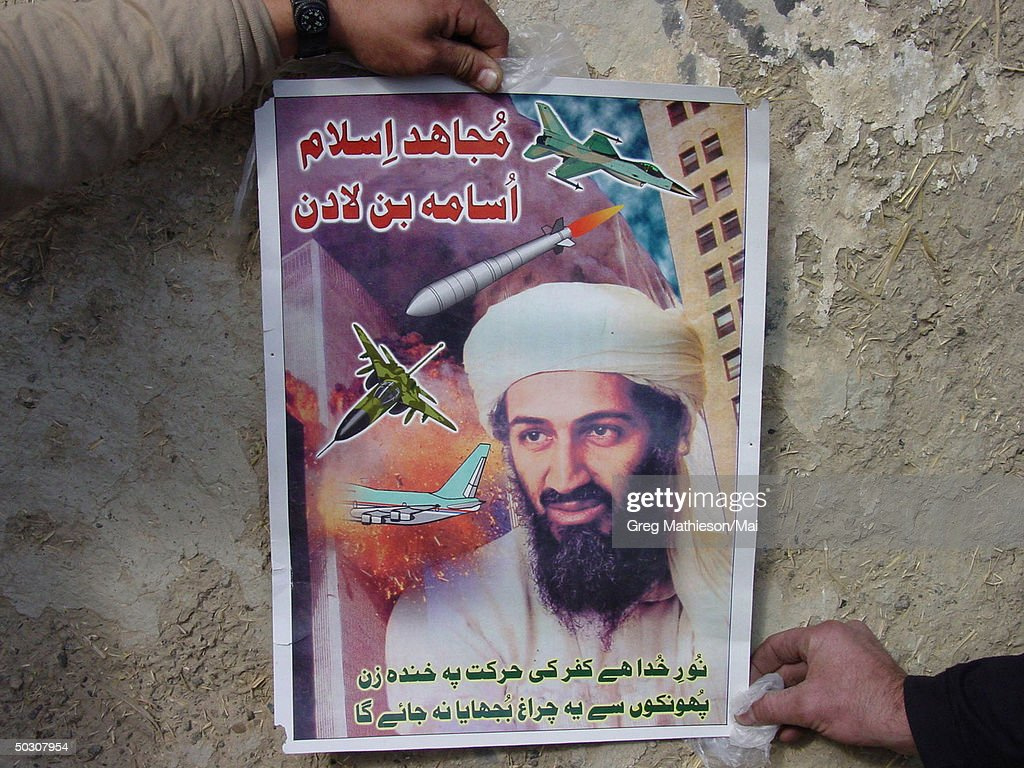During a search and destroy mission in the Zhawar Kili area, U.S. Navy Seals found valuable intelligence information, including this Osama Bin Laden propaganda poster located in an al-Qaeda classroom. In addition to detaining several suspected al-Qaeda and Taliban members, Seals also found a large cache of munitions in numerous caves and above-ground structures. The Seals destroyed more than 50 caves and 60 structures by using on-ground explosives and air strikes. Navy special operations forces are conducting missions in Afghanistan in support of Operation Enduring Freedom.