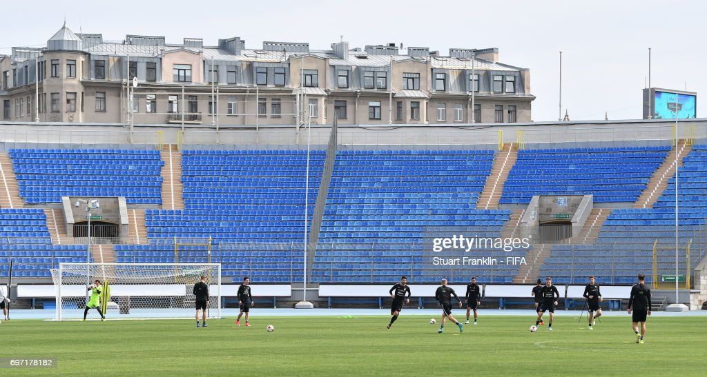 during a training session of the New Zealand national football team at Petrovsky Stadium on June 18, 2017 in Saint Petersburg, Russia.