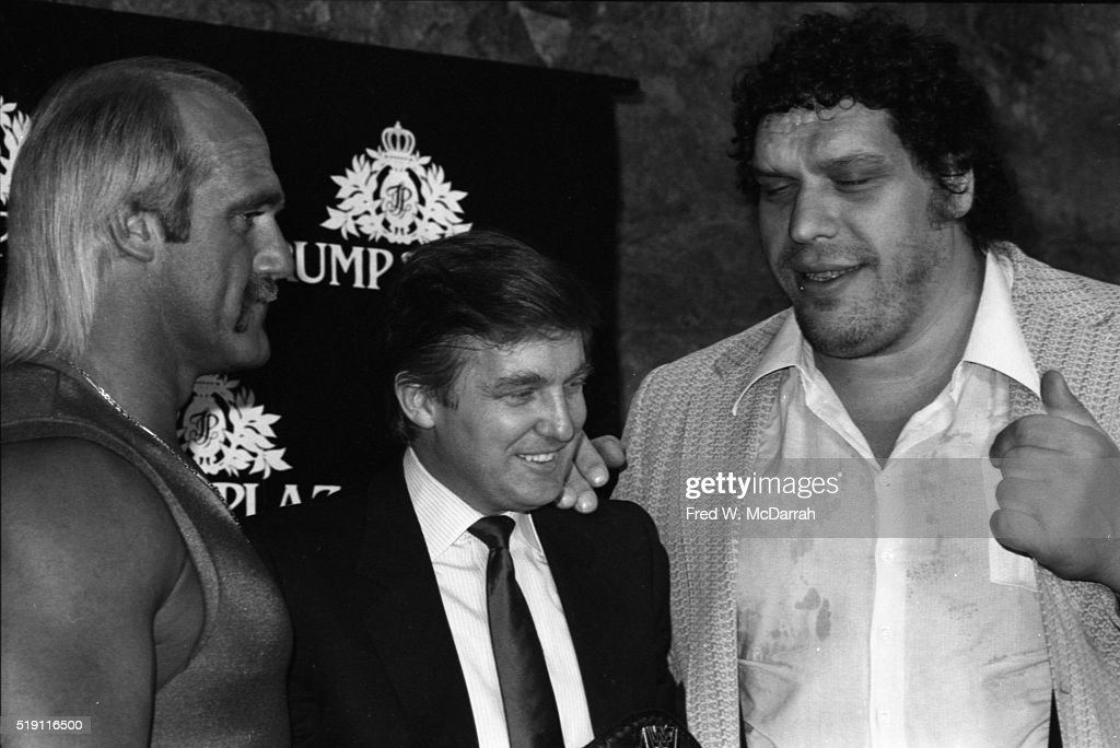During a Wrestlemania event at the Trump Plaza, American businessman <a gi-track='captionPersonalityLinkClicked' href=/galleries/search?phrase=Donald+Trump+-+Born+1946&family=editorial&specificpeople=118600 ng-click='$event.stopPropagation()'>Donald Trump</a> (center) poses with wrestlers <a gi-track='captionPersonalityLinkClicked' href=/galleries/search?phrase=Hulk+Hogan&family=editorial&specificpeople=209432 ng-click='$event.stopPropagation()'>Hulk Hogan</a> (left) and <a gi-track='captionPersonalityLinkClicked' href=/galleries/search?phrase=Andre+the+Giant&family=editorial&specificpeople=740785 ng-click='$event.stopPropagation()'>Andre the Giant</a> (born Andre Roussimoff, 1946 - 1993), Atlantic City, New Jersey, March 15, 1988.