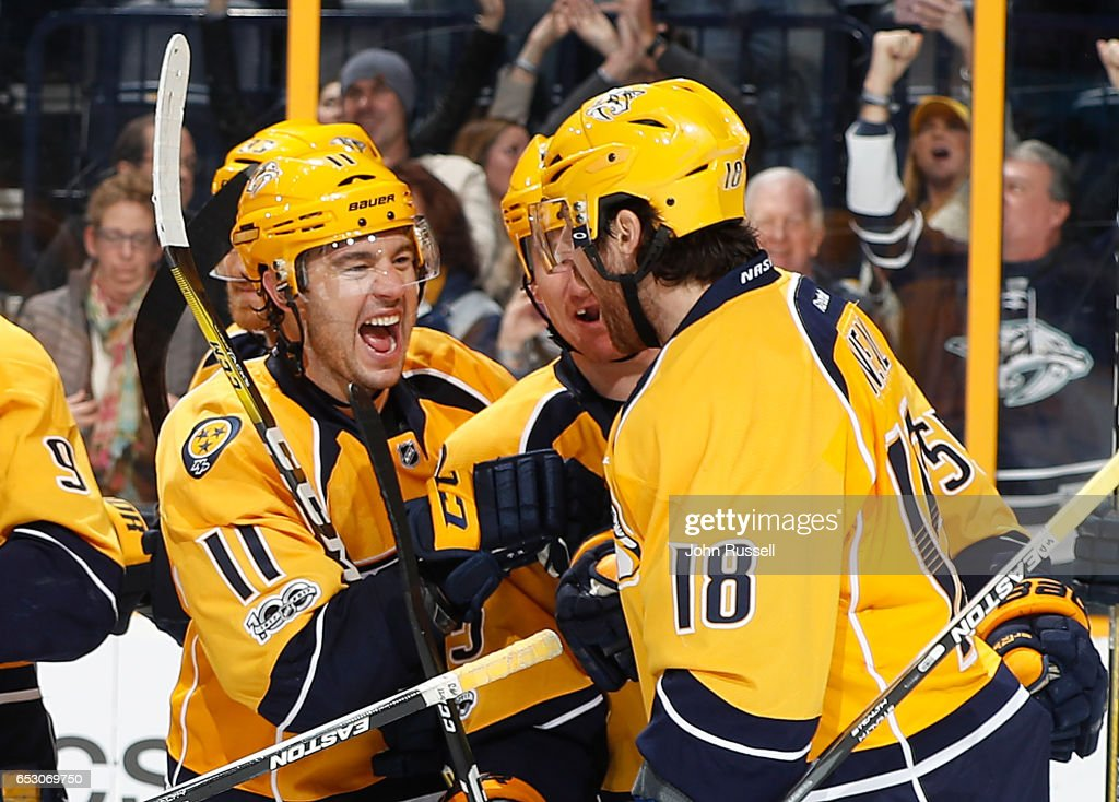 during an NHL game at Bridgestone Arena on March 13, 2017 in Nashville, Tennessee.