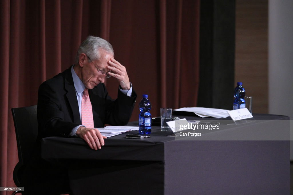 During an unspecified conference, Governor of the Bank of Israel Professor <a gi-track='captionPersonalityLinkClicked' href=/galleries/search?phrase=Stanley+Fischer&family=editorial&specificpeople=233518 ng-click='$event.stopPropagation()'>Stanley Fischer</a> reads a document, Jerusalem, Israel, June 18, 2013.
