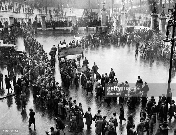 During Demonstration of British Hunger Marchers London England The vanguard of a long line of thousands of hunger marchers and unemployed entering...