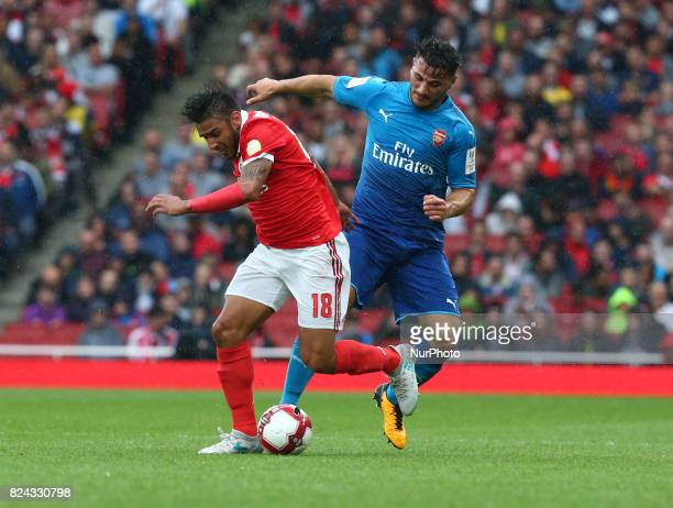 during Emirates Cup match between RB Arsenal against Benfica at Emirates Stadium on 29 July 2017